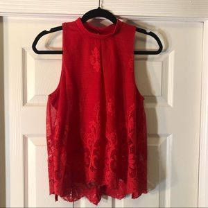 NWOT love FIRE Red High Neck Lace Sleeveless Top